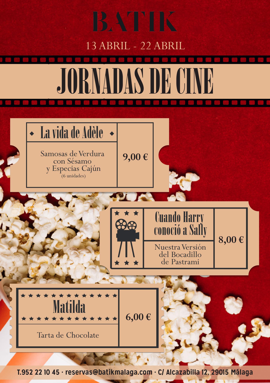 Menú del Festival de Cine 2018 en Alcazaba Premium Hostel