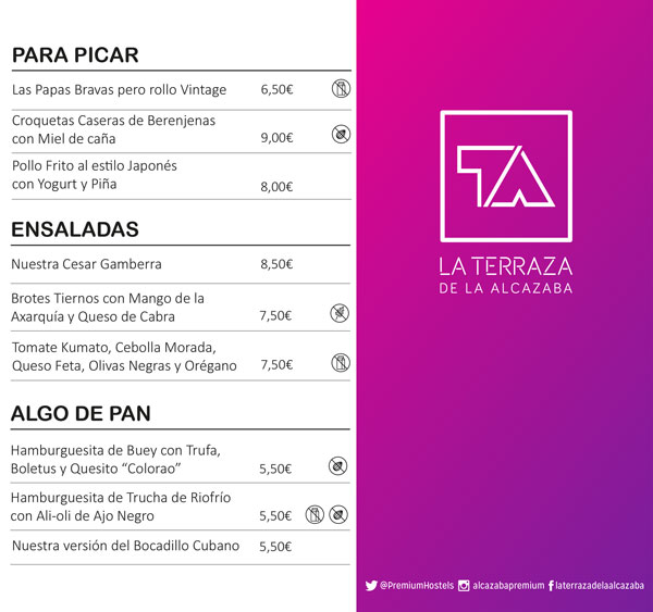 Menú de snacks La Terraza