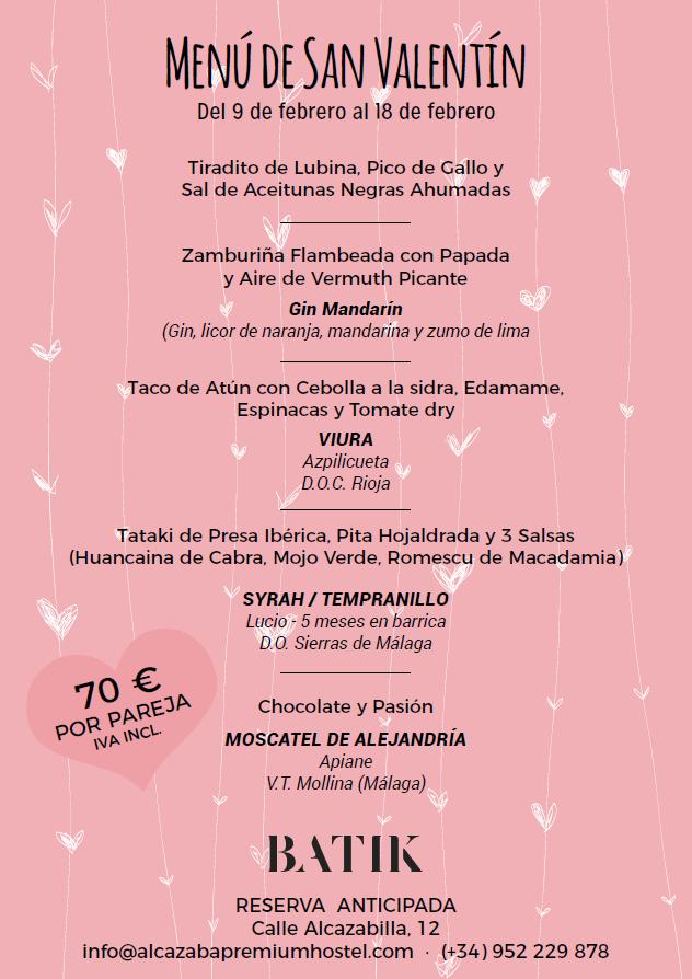 Menú de San Valentín 2018 en Batik