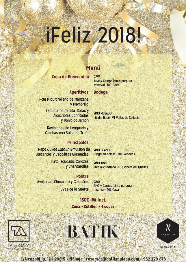 Menú de Nochevieja 2017 en Batik