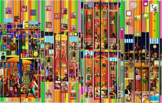 Los murales del ascensor de Hotel Alcazaba Premium, de izquierda a derecha: planta baja, primera, segunda y tercera planta.